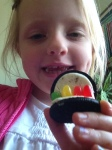 Kate making her Oreo cookie turkey